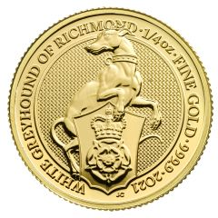2021 1/4 oz Queen's Beasts White Greyhound of Richmond Gold Coin