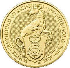 2021 1 oz Queen's Beasts White Greyhound of Richmond Gold Coin