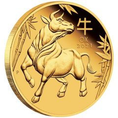 2021 1 oz Year of the Ox Proof Gold Coin - Perth Mint Lunar Series III