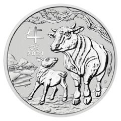 2021 1 oz Year of the Ox Silver Coin - Perth Mint Lunar Series III
