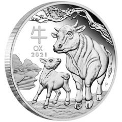 2021 1 oz Year of the Ox Proof Silver Coin - Perth Mint Lunar Series III
