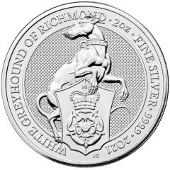 2021 2 oz Queen's Beasts White Greyhound of Richmond Silver Coin