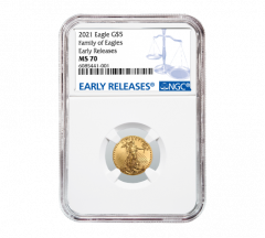 2021 1/10 oz NGC MS-70 ER American Gold Eagle Coin