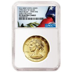 NGC PF-70 2017 Gold High Relief American Liberty Coin - 225th Anniversary Release