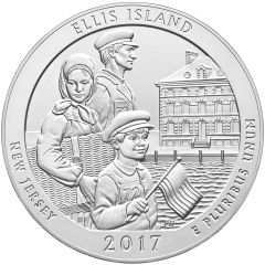 2017 Ellis Island 5 oz Burnished Silver Coin - America The Beautiful