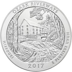 2017 Ozark Riverways 5 oz Burnished Silver Coin - America The Beautiful