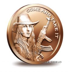 2015 Silver Shield Southern Freedom Girl - Come and Take It 1oz Copper