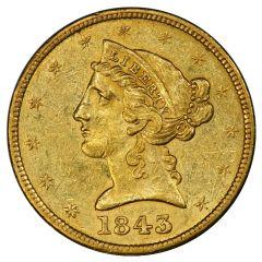 $5 Liberty Half Eagle Gold Coin (VF+) - Random Year