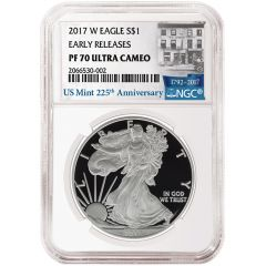 2017-W Silver Eagle Proof - PF-70 NGC Early Releases 225th Anniversary Label