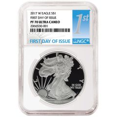 2017-W Silver Eagle Proof - PF-70 NGC First Day Of Issue