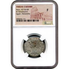 Twelve Caesars Nero BI Tetradrachm AD 54-68 - NGC F