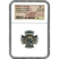 Twelve Caesars Domitian AR Denarius AD 81-96 - NGC XF