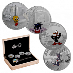 Looney Tunes 4-Coin Silver Collection With Matching Wrist Watch - Collector's Box