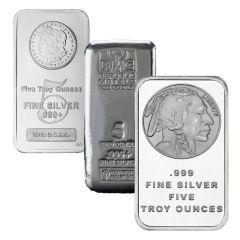 Generic 5 oz Silver Bar Our Choice - .999 Fine Silver