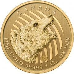 2016 1 oz Gold Roaring Grizzly Royal Canadian Mint - Call of the Wild - .99999