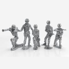Silver Soldiers 6 Figure Complete Collection - Hand Poured .999 Silver Army Men