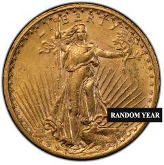 $20 Saint Gaudens Double Eagle Gold Coin  (BU) - Random Year