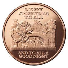Santa Fireplace 1 oz Copper Round - Osborne Mint