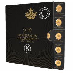 2019 25x1 Gram Canadian Gold Maplegram25™ Coin Sheet - in Assay