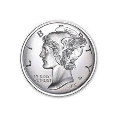 2 oz Mercury Dime Tribute Silver Round - Ultra High Relief