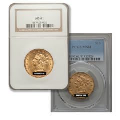 $20 MS-63 Liberty Double Eagle Gold Coin (NGC or PCGS) - Random Year