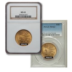 $10 MS-63 Indian Eagle Gold Coin (NGC or PCGS) - Random Year