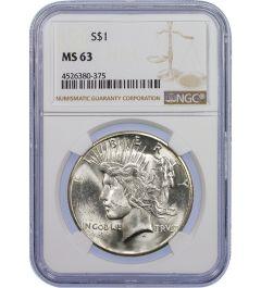 Pre-1935 NGC MS-63 Peace Silver Dollar - Random Year