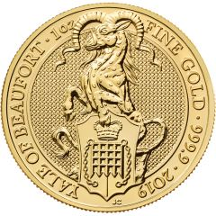 2019 1 oz Queen's Beasts The Yale of Beaufort Gold Coin
