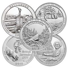 5 oz America The Beautiful Silver Coin - Random Year