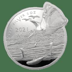 2021 2 oz Great White Shark Silver Coin - Ocean Predator Series