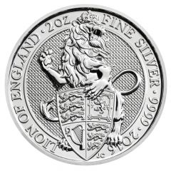 2016 2 oz Queen's Beasts Silver Coin - The Lion - Royal British Mint