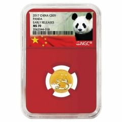2017 3 Gram Chinese Gold Panda NGC MS-70 Early Release Red Core
