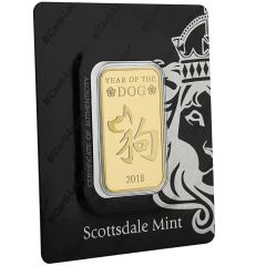Scottsdale Year Of The Dog 1 oz Gold Bar in Assay Card