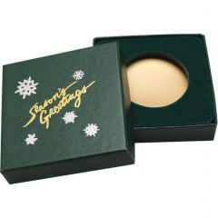 Season's Greetings Green Display Box - 39 mm Round or Coin