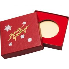 Season's Greetings Red Display Box - 39 mm Round or Coin