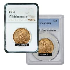 $20 MS-64 St. Gaudens Double Eagle Gold Coin (NGC or PCGS) - Random Year