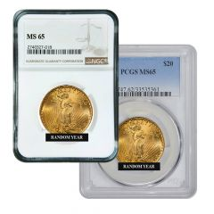 $20 MS-65 St. Gaudens Double Eagle Gold Coin (NGC or PCGS) - Random Year