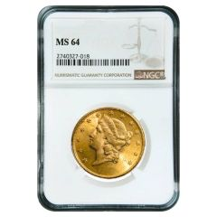 $20 NGC MS-64 Liberty Double Eagle Gold Coin - Random Year