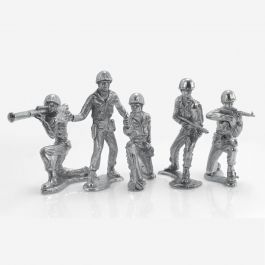 Silver Soldiers 6 Figure Complete Collection Hand Poured