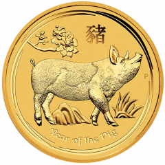 2019 Perth Mint Lunar Year of the Pig Gold Coin 1/4 oz