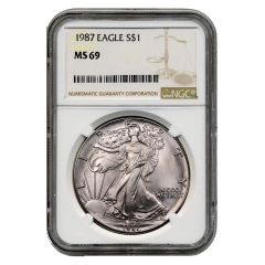 1987 NGC MS-69 American Silver Eagle Coin (Brown Label)