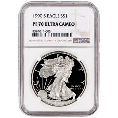 1990-S NGC PF-70 Proof American Silver Eagle Coin