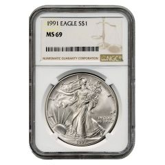 1991 NGC MS-69 American Silver Eagle Coin (Brown Label)
