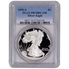 1992-S PCGS PR-70 American Silver Eagle Proof Coin