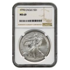 1996 NGC MS-69 American Silver Eagle Coin (Brown Label)