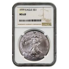 1999 NGC MS-69 American Silver Eagle Coin (Brown Label)