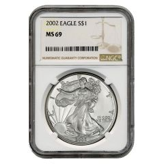 2002 NGC MS-69 American Silver Eagle Coin (Brown Label)
