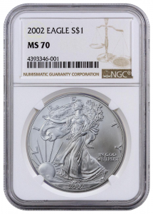 2002 NGC MS-70 American Silver Eagle Coin