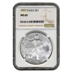 2007 NGC MS-69 American Silver Eagle Coin (Brown Label)