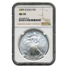 2009 NGC MS-70 American Silver Eagle Coin (Brown Label)